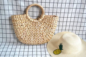 Beach Bag Straw Totes with Tassels Pompon-wholesale