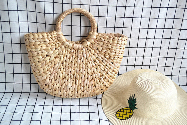 Beach Bag Straw Totes with Tassels Pompon