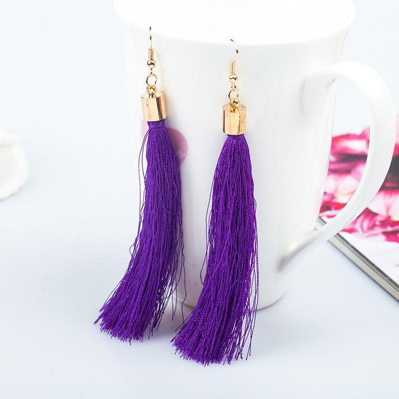 Long Tassel Fringe Dangle Earrings Black