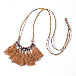 Vintage Long Leather Rope Chain Boho