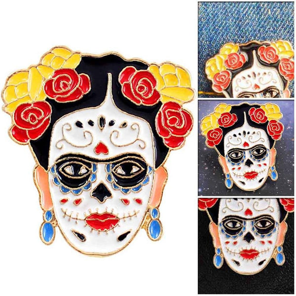 Day Of Death Frida Kahlo Brooch