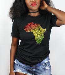 Woman wearing Africa Fingerprint shirt