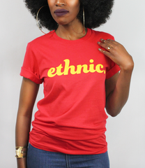 Model wearing Ethnic t-shirt