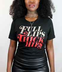 Model wearing the Full Lips Thick Hips T-Shirt