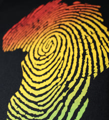Close up photo of the Africa Fingerprint shirt