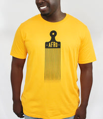 Men's model wearing the Afro Pick t-shirt