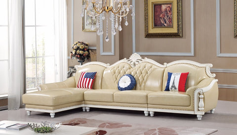 American leather sofa set living room sofa China wooden frame L shape  corner sofa
