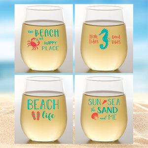 Wine-Oh! - BEACH LIFE Shatterproof Wine Glasses