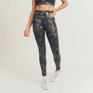 Mono B - Black Gold Snake Foil Print Highwaist Leggings