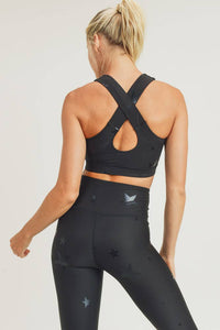 Mono B - Black Star Foil Sports Bra with Overlay Back