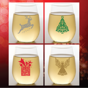Wine-Oh! - Preorder CHRISTMAS SWIRLS Shatterproof Wine Glasses