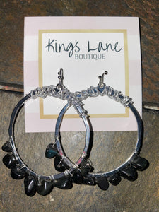Silver Hoops with Black Beads