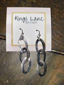 Silver 3 Tiered Oval Earrings