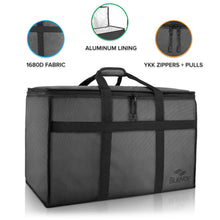 BlueVoy Insulated Food Delivery Bag – Premium Large Commercial Catering Bag for Food Transport - Hot and Cold Thermal Insulated Food Carrier with YKK No Snag Zippers – Ultra Durable Polyester Material