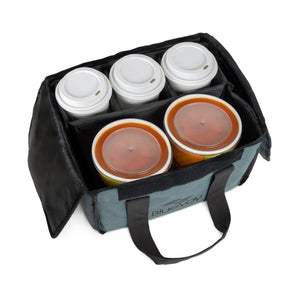 BlueVoy Reusable Drink Carrier for Delivery and Food Delivery Bag | Drink Holder Works as a Travel Coffee Carrier to Go, Drink Caddy Bag, Cup Carrier Tote and Drink Carrier with Handle and Removable Dividers