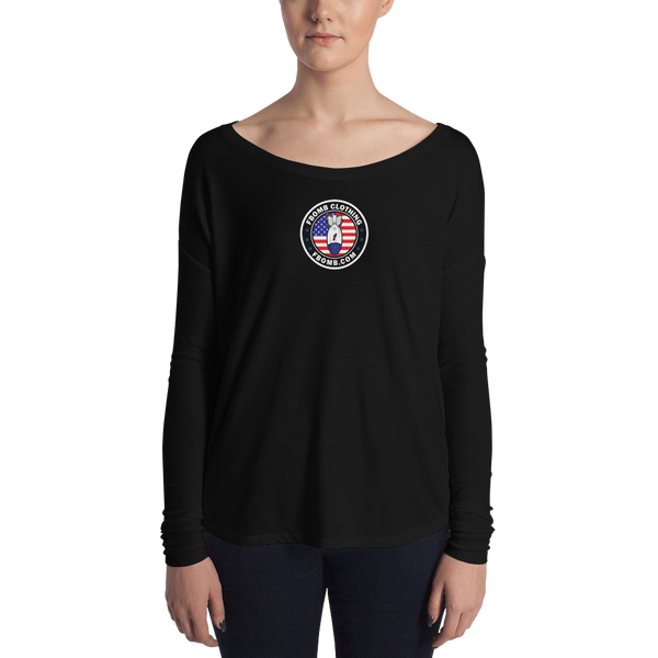 Ladies' New Patriot Cross FBomb Long Sleeve Tee - Dark
