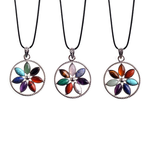 7 Chakras Flower Pendant + Necklace
