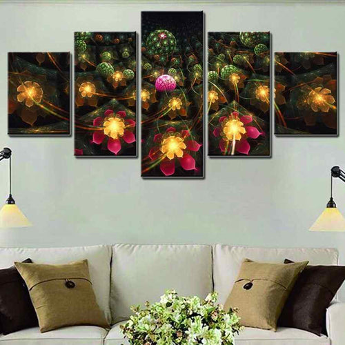 5 Lotus Wall Canvas