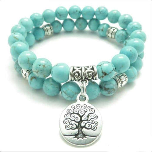 "Double Bracelet ""Tree of Life"" in Turquoise Stones"