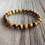 Natural Stones Protection Bracelet (Tiger Eye, Howlite, Turquoise, Lava Stone)