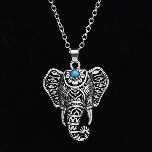 Elephant Ancient Silver & Turquoise Necklace
