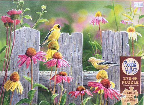 Puzzle Garden Goldfinches, Pink and Gold