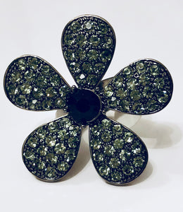 Black Stone and Rhinestones Flower Ring