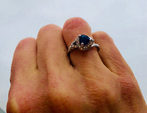 Silver Blue Sapphire Ring with zirconia