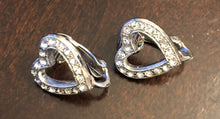 Vintage Heart Silver Tone and Rhinestone Clip Earrings