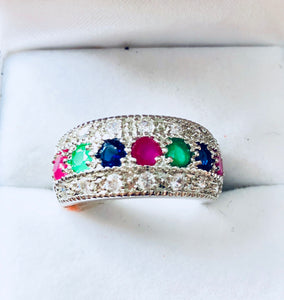 925 Sterling Silver Multicolour Stone Ring