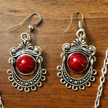 Vintage Red Owl Necklace and Earrings set