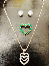 Vintage Heart Necklace, Brooch and Earrings set