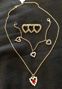 Vintage Heart Necklace, Bracelet and Brooch set