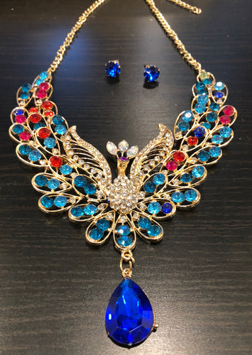 Vintage style colourful peacock necklace and earrings set