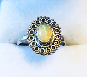 Vintage Ethiopian Opal Sterling Silver Ring