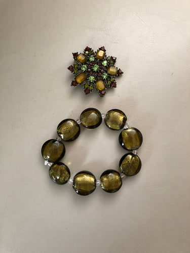 Vintage Olive Green and rhinestone bracelet and brooch (2-piece set)