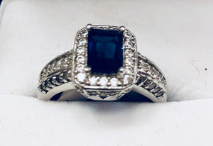Blue & White Topaz Sterling Silver Ring