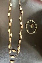Vintage Gold Tone and Color Necklace, Bracelet and Ring (3 piece set)