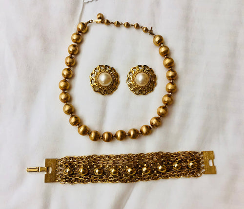 Vintage Gold Tone Set featuring Trifari (3-piece set)