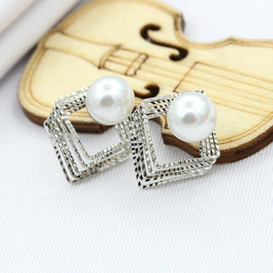 Vintage Style Women's Golden Square & Pearl Earrings