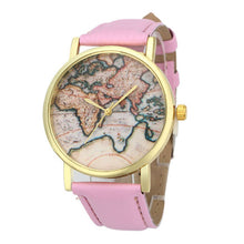 Women's Vintage Leather Earth World Map Watch