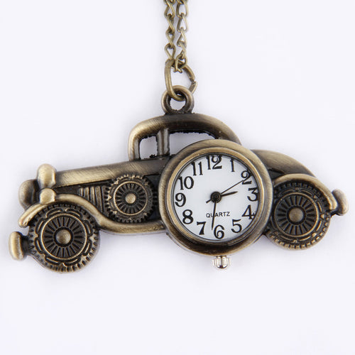 Men's Vintage Antique Bronze Classic Car Design Pendant Pocket Watch