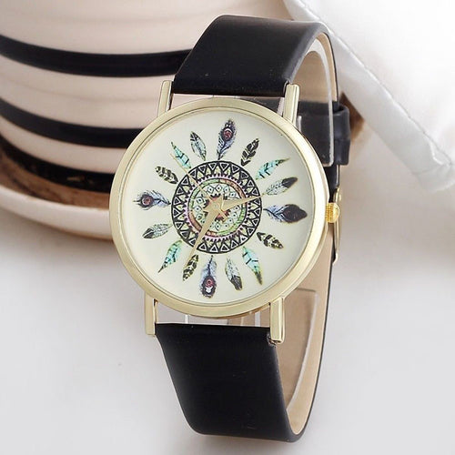 Women's Vintage Feather Dial Wrist Watch