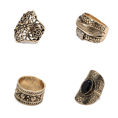 4pcs/Set Women Bohemian Vintage Silver Stack Rings Above Knuckle