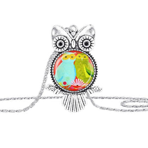 Vintage Owl Glass Cabochon Pendant Necklace