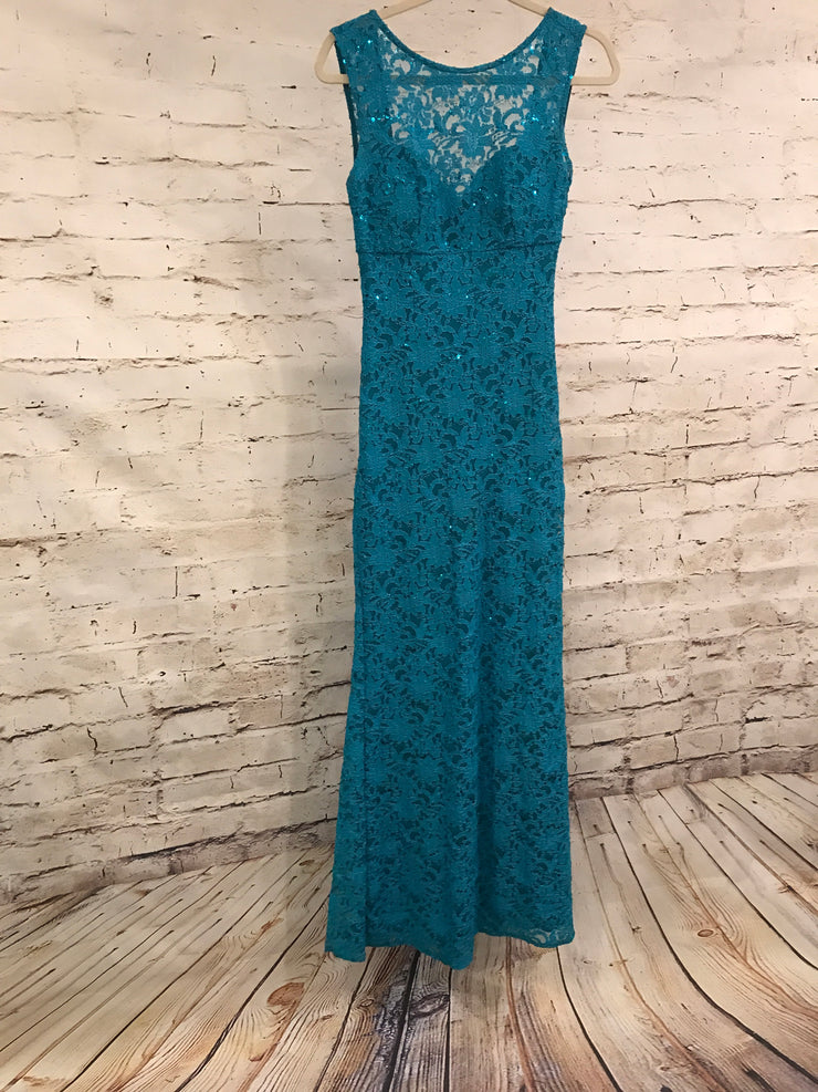 TURQUOISE LONG LACE DRESS
