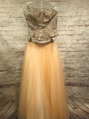 GOLD BEADED 2 PC. GOWN