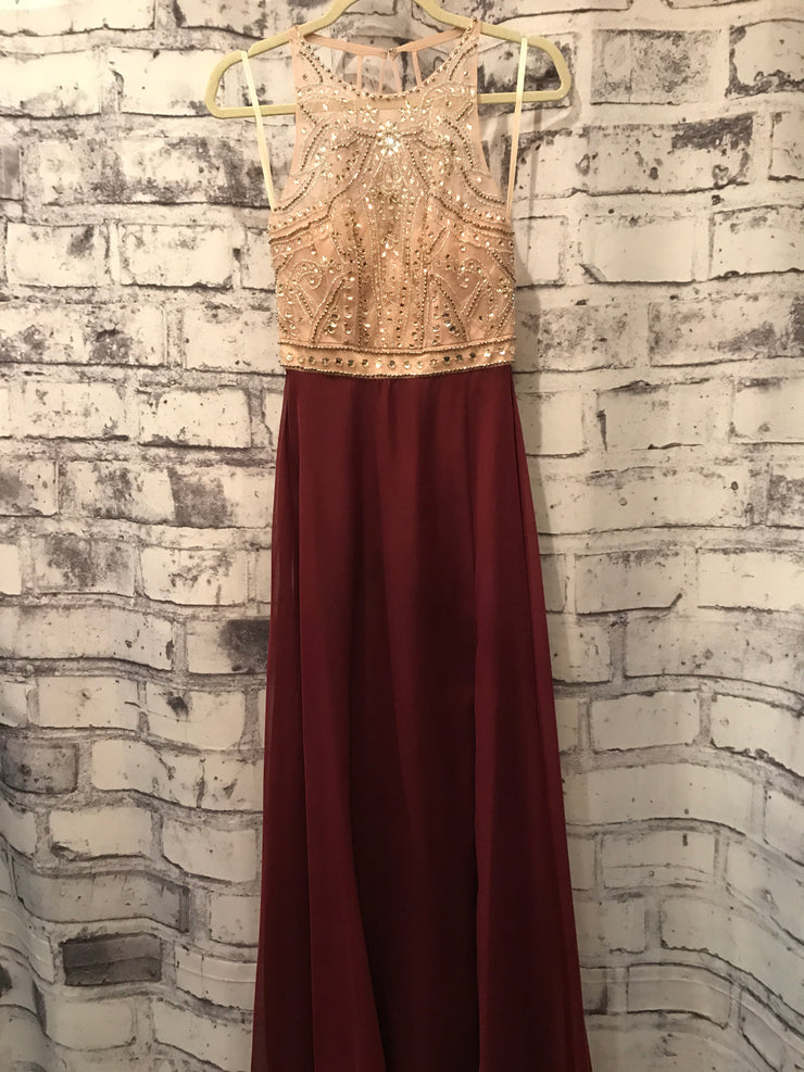 BURGUNDY/TAN LONG EVENING GOWN
