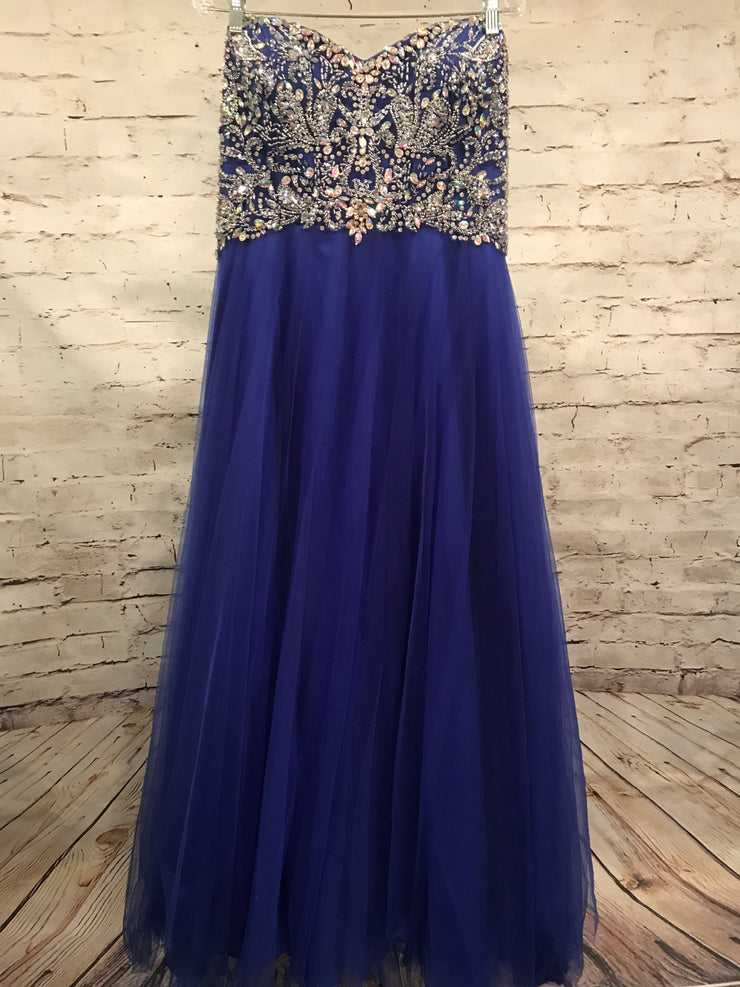 ROYAL BLUE A LINE PRINCESS GOWN