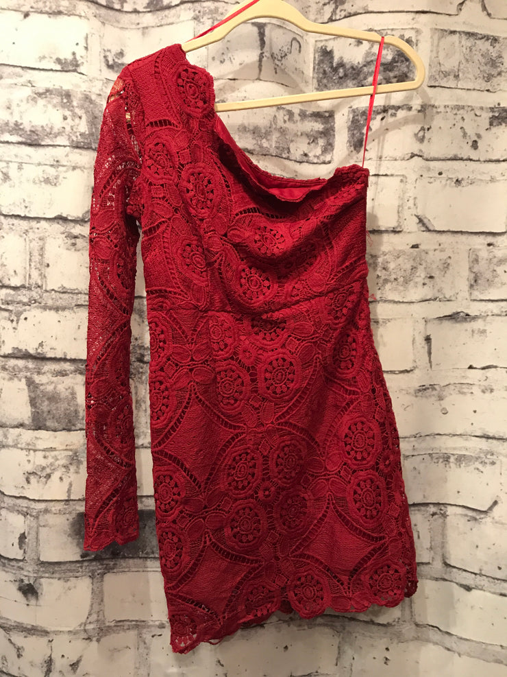 BURGUNDY 1 SHOULDER SHORT DRESS